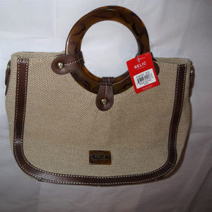 NWT Relic Blake Satchel Woven Handbag Bag